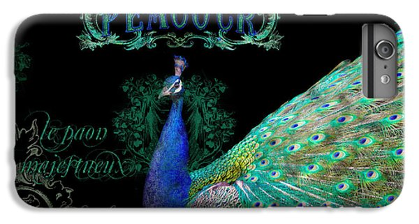Elegant Peacock W Vintage Scrolls  IPhone 6 Plus Case by Audrey Jeanne Roberts