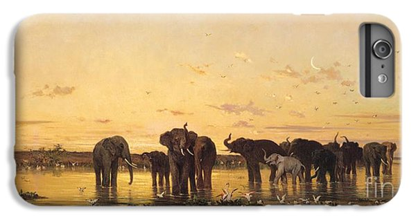 African Elephants IPhone 6 Plus Case by Charles Emile de Tournemine