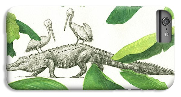 Alligator With Pelicans IPhone 6 Plus Case by Juan Bosco