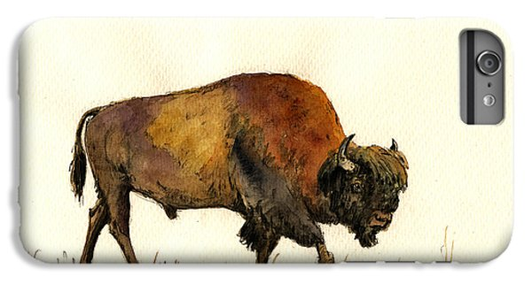 American Buffalo Watercolor IPhone 6 Plus Case by Juan  Bosco
