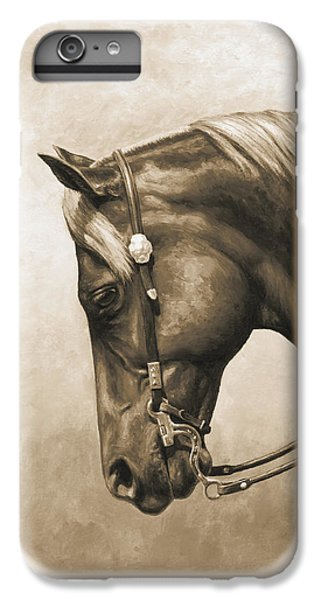 Western Horse Painting In Sepia IPhone 6 Plus Case by Crista Forest