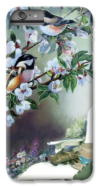 Chickadees In Blossom Tree IPhone 6 Plus Case by Regina Femrite