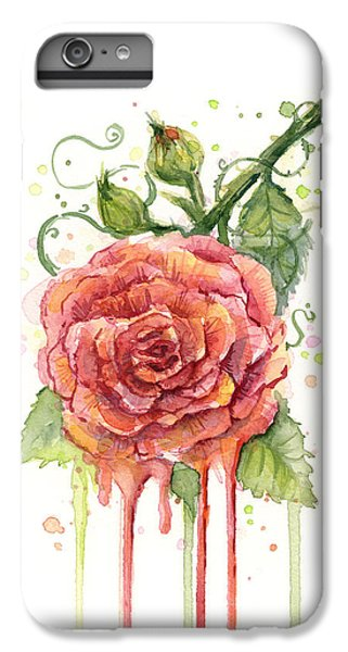 Red Rose Dripping Watercolor  IPhone 6 Plus Case by Olga Shvartsur