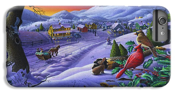 Christmas Sleigh Ride Winter Landscape Oil Painting - Cardinals Country Farm - Small Town Folk Art IPhone 6 Plus Case by Walt Curlee