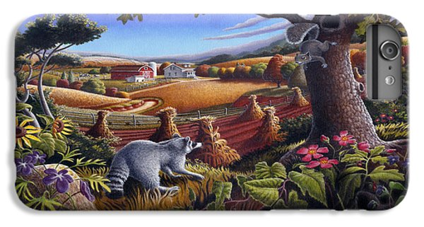 Rural Country Farm Life Landscape Folk Art Raccoon Squirrel Rustic Americana Scene  IPhone 6 Plus Case by Walt Curlee