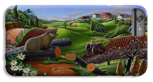 Farm Folk Art - Groundhog Spring Appalachia Landscape - Rural Country Americana - Woodchuck IPhone 6 Plus Case by Walt Curlee