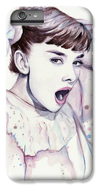 Audrey - Purple Scream IPhone 6 Plus Case by Olga Shvartsur