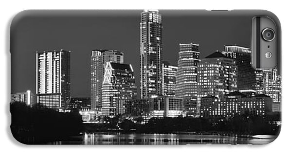 Austin Skyline At Night Black And White Bw Panorama Texas IPhone 6 Plus Case by Jon Holiday