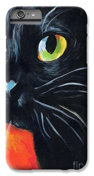 Black Cat Painting Portrait IPhone 6 Plus Case by Svetlana Novikova