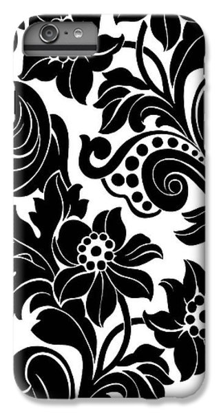 Black Floral Pattern On White With Dots IPhone 6 Plus Case by Gillham Studios