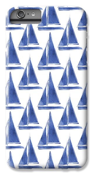 Blue And White Sailboats Pattern- Art By Linda Woods IPhone 6 Plus Case by Linda Woods