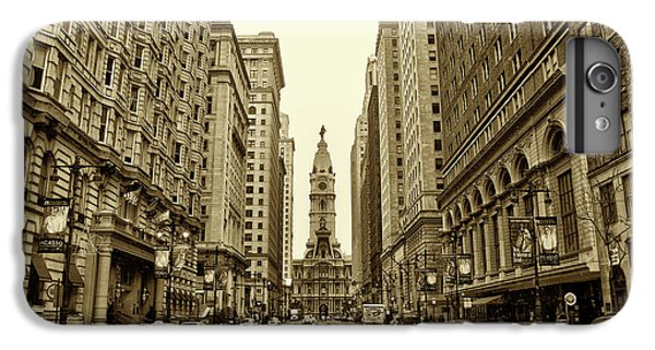 Broad Street Facing Philadelphia City Hall In Sepia IPhone 6 Plus Case by Bill Cannon