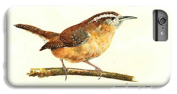 Carolina Wren Watercolor Painting IPhone 6 Plus Case by Juan  Bosco
