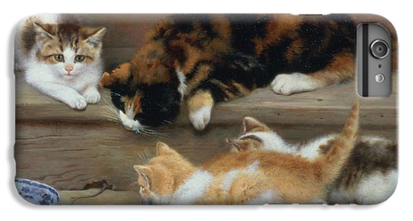 Cat And Kittens Chasing A Mouse   IPhone 6 Plus Case by Rosa Jameson