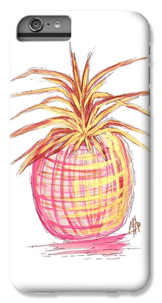 Chic Pink Metallic Gold Pineapple Fruit Wall Art Aroon Melane 2015 Collection By Madart IPhone 6 Plus Case by Megan Duncanson
