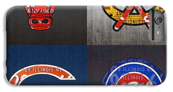 Chicago Sports Fan Recycled Vintage Illinois License Plate Art Bulls Blackhawks Bears And Cubs IPhone 6 Plus Case by Design Turnpike