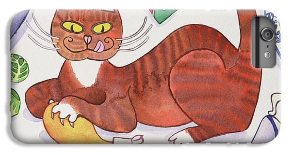 Christmas Cat And The Turkey IPhone 6 Plus Case by Cathy Baxter