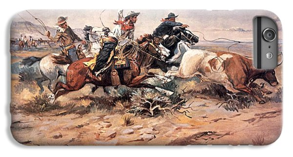 Cowboys Roping A Steer IPhone 6 Plus Case by Charles Marion Russell