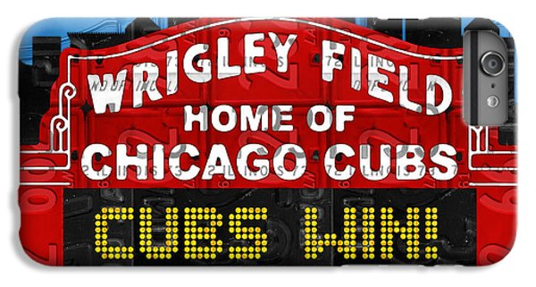 Cubs Win Wrigley Field Chicago Illinois Recycled Vintage License Plate Baseball Team Art IPhone 6 Plus Case by Design Turnpike