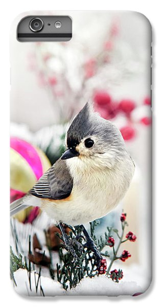 Cute Winter Bird - Tufted Titmouse IPhone 6 Plus Case by Christina Rollo