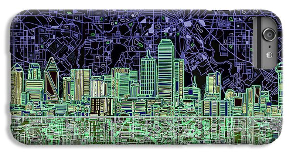 Dallas Skyline Abstract 4 IPhone 6 Plus Case by Bekim Art