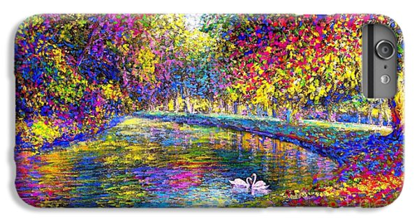 Drifting Beauties, Swans, Colorful Modern Impressionism IPhone 6 Plus Case by Jane Small