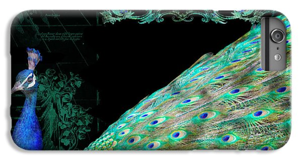 Elegant Peacock W Vintage Scrolls Typography 4 IPhone 6 Plus Case by Audrey Jeanne Roberts