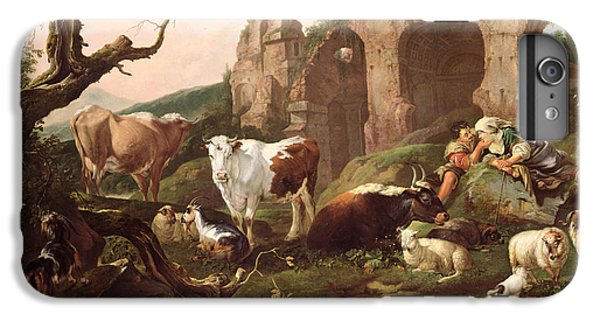 Farm Animals In A Landscape IPhone 6 Plus Case by Johann Heinrich Roos
