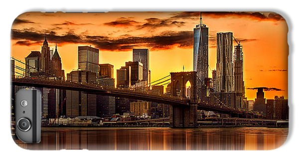 Fiery Sunset Over Manhattan  IPhone 6 Plus Case by Az Jackson