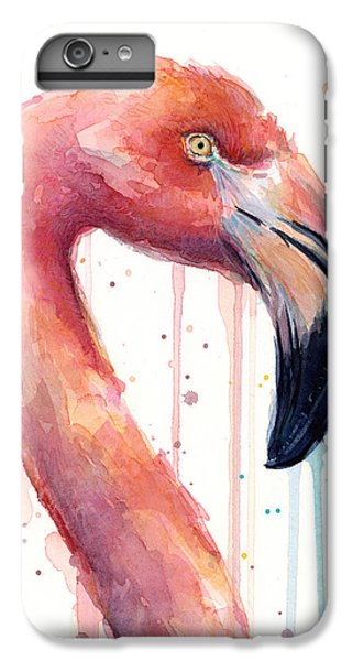 Flamingo Painting Watercolor - Facing Right IPhone 6 Plus Case by Olga Shvartsur