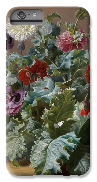 Flower Piece With Poppies And Butterflies IPhone 6 Plus Case by Celestial Images
