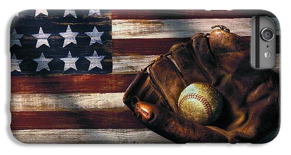 Folk Art American Flag And Baseball Mitt IPhone 6 Plus Case by Garry Gay