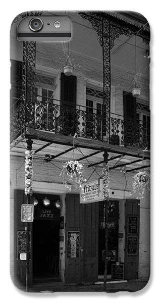 Fritzel's European Jazz Pub In Black And White IPhone 6 Plus Case by Chrystal Mimbs