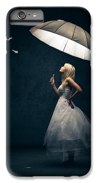 Girl With Umbrella And Falling Feathers IPhone 6 Plus Case by Johan Swanepoel