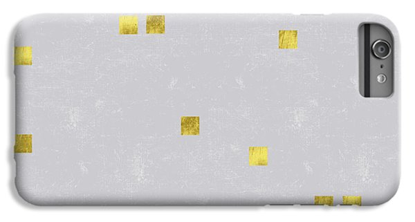 Gold Scattered Square Confetti Pattern On Grey Linen Texture IPhone 6 Plus Case by Tina Lavoie