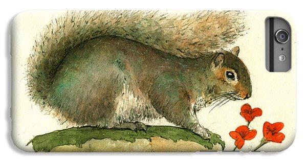 Gray Squirrel Flowers IPhone 6 Plus Case by Juan Bosco