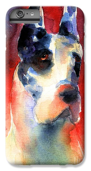 Harlequin Great Dane Watercolor Painting IPhone 6 Plus Case by Svetlana Novikova