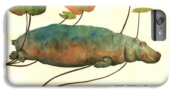 Hippo Swimming With Water Lilies IPhone 6 Plus Case by Juan  Bosco