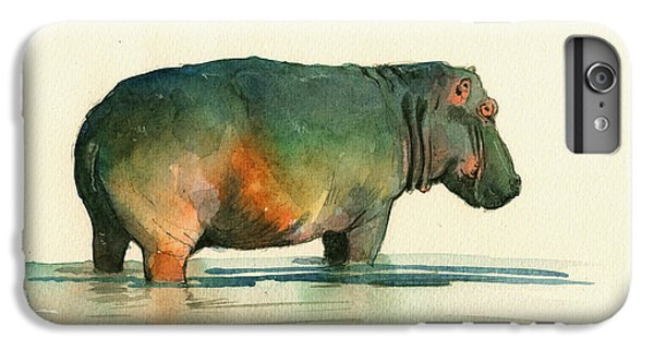 Hippo Watercolor Painting IPhone 6 Plus Case by Juan  Bosco