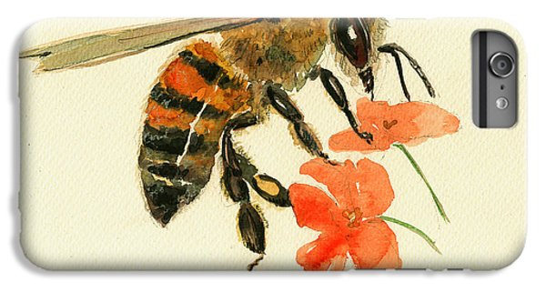 Honey Bee Watercolor Painting IPhone 6 Plus Case by Juan  Bosco