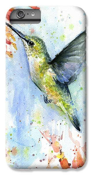 Hummingbird And Red Flower Watercolor IPhone 6 Plus Case by Olga Shvartsur