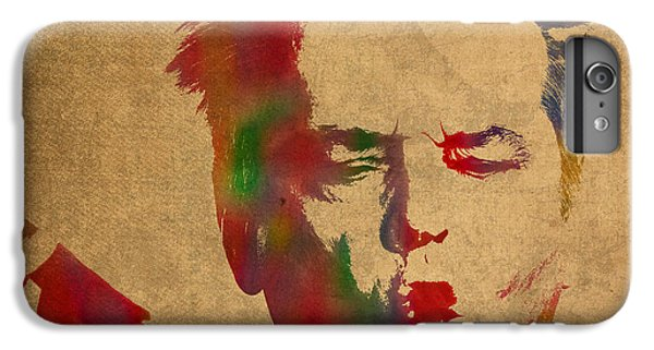 Jack Nicholson Smoking A Cigar Blowing Smoke Ring Watercolor Portrait On Old Canvas IPhone 6 Plus Case by Design Turnpike
