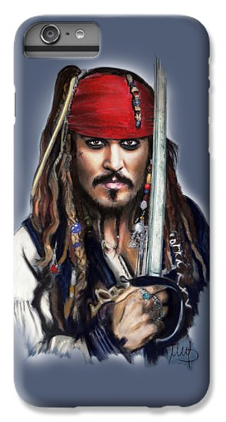 Johnny Depp As Jack Sparrow IPhone 6 Plus Case by Melanie D