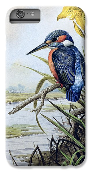 Kingfisher With Flag Iris And Windmill IPhone 6 Plus Case by Carl Donner
