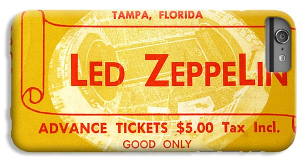 Led Zeppelin Ticket IPhone 6 Plus Case by David Lee Thompson