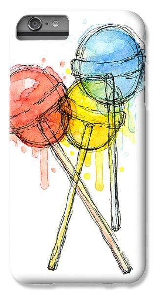 Lollipop Candy Watercolor IPhone 6 Plus Case by Olga Shvartsur