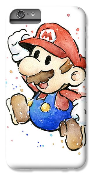 Mario Watercolor Fan Art IPhone 6 Plus Case by Olga Shvartsur