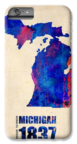 Michigan Watercolor Map IPhone 6 Plus Case by Naxart Studio