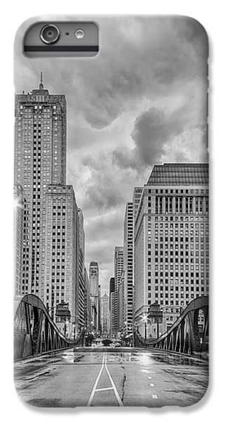 Monochrome Image Of The Marshall Suloway And Lasalle Street Canyon Over Chicago River - Illinois IPhone 6 Plus Case by Silvio Ligutti