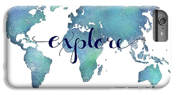 Navy And Teal Explore World Map IPhone 6 Plus Case by Michelle Eshleman